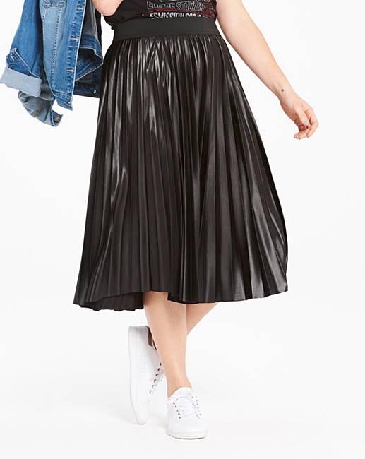 45b84f61dae Wet Look Sunray Pleat Midi Skirt