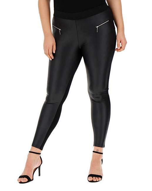 889b12e0c4f2 Zip Trim PU Wet Look Leggings | Simply Be