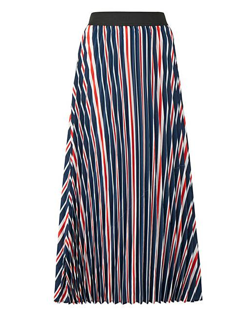 Stripe Sunray Pleat Maxi Skirt by Simply Be