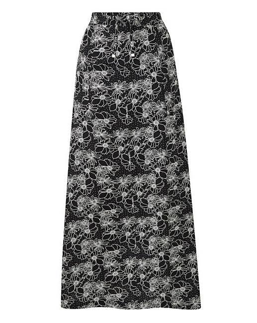 e34083e51b8 Petite Floral Print Easy Care Linen Mix Maxi Skirt