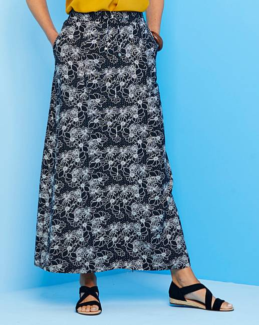 09643287d Floral Easy Care Linen Mix Maxi Skirt | Oxendales
