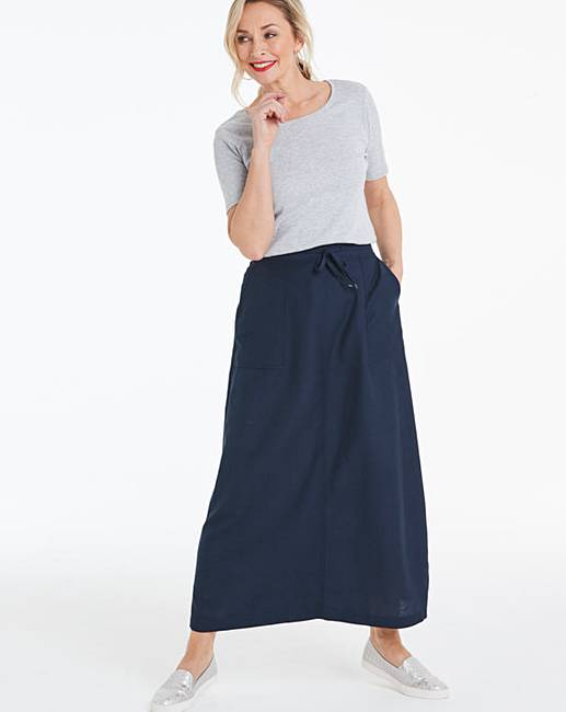 7dbac4ff7 Petite Easy Care Linen Mix Maxi Skirt | Oxendales