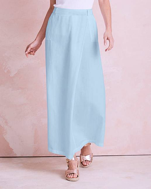quality quality design wide selection Linen Mix Wrap Maxi Skirt