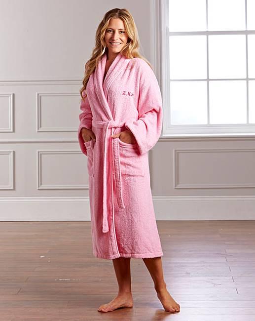 Personalised Ladies Towelling Robe   J D Williams