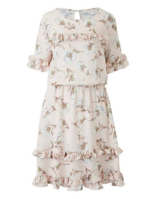 Pink Floral Mini Ruffle Dress for sale