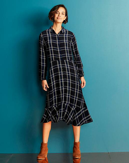 67a71358419ef3 Black Check Midi Shirt Dress