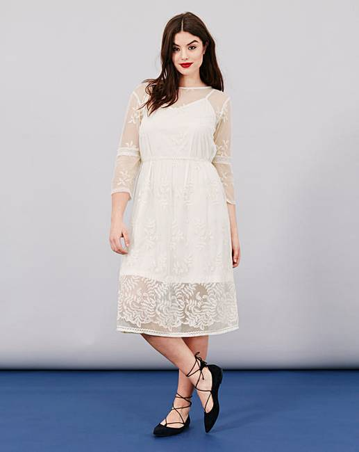 Simply Be Embroidered Mesh Dress