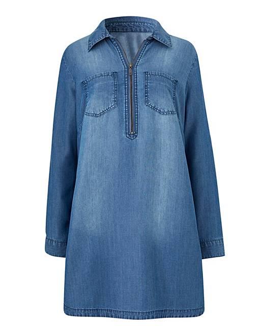 b1e9810add2 Soft Tencel Denim Tunic with Zip Front, Side Pockets and Split Hem Detail