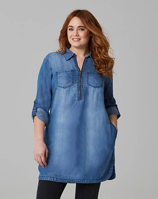 7149e291238 Soft Tencel Denim Tunic with Zip Front | Simply Be