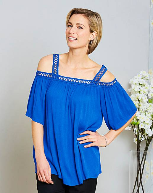 edac420f5b6be Blue Crochet Trim Cold Shoulder Top
