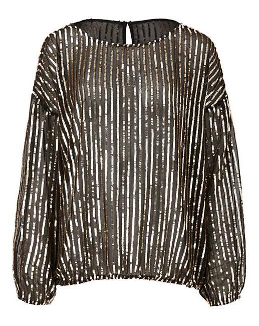 43359d73af7ec Black Gold Long Sleeve Sequin Top