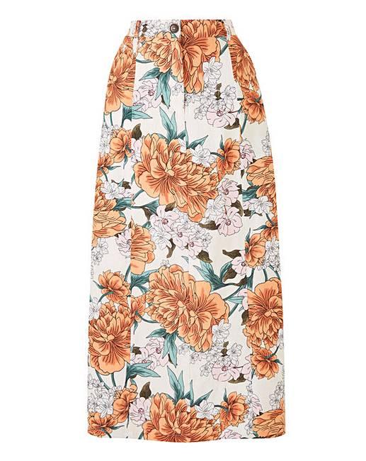 8a0c316ba96 Petite Floral Print Linen Ric Maxi Skirt