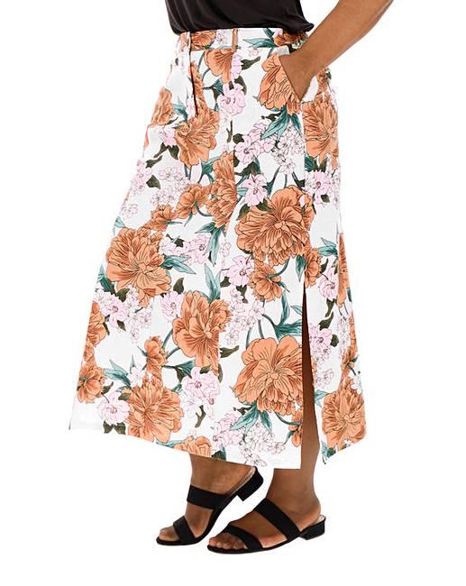 35f8e68d4 Floral Print Linen Rich Maxi Skirt | J D Williams