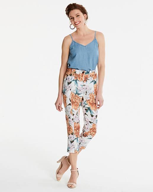 d37ff277fb6 Print Linen Rich Crop Trousers