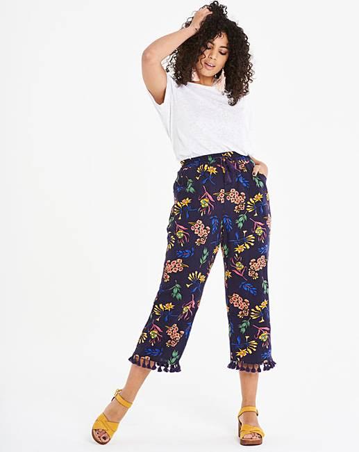 3fc3fefba27 Navy Print Linen Rich Wide Crop Trousers