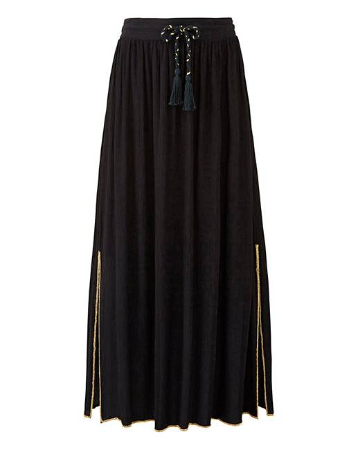 bb05d9df408ac Petite Bead Trim Crinkle Maxi Skirt