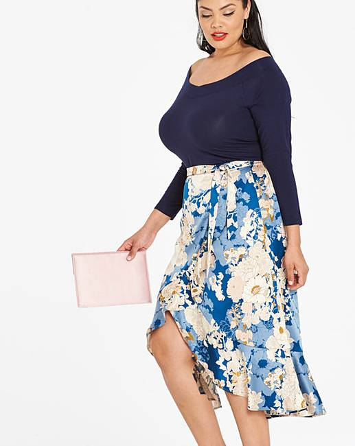 91fee5fd0b Floral Print Frill Trim Midi Skirt | Fashion World