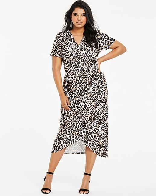 11f55aaa01 Quiz Curve Leopard Print Wrap Dress