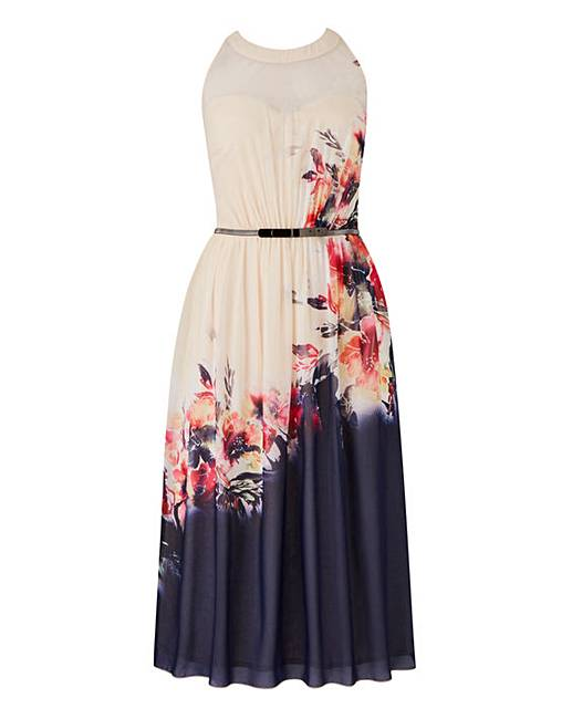 Little Mistress Floral Midi Skater Dress  8df35e872