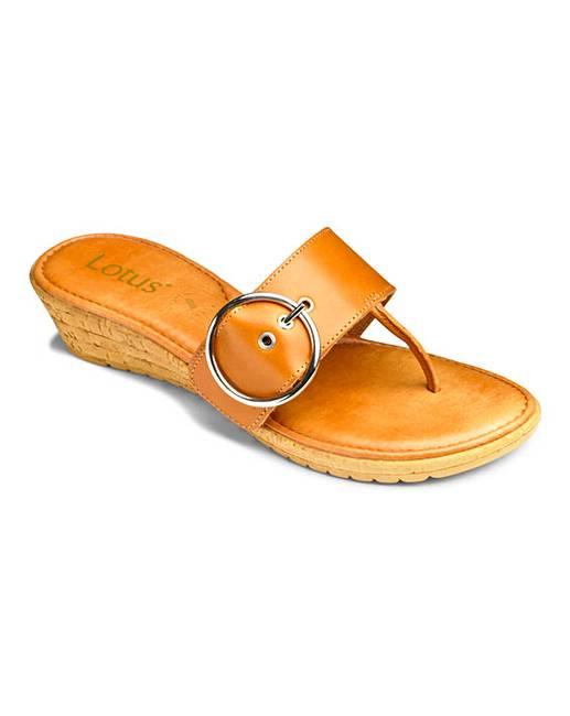 42b21dc821b6 Lotus Low Wedge Toepost Sandals EEE Fit