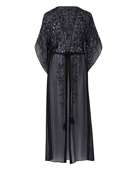 1920s Style Shawls, Wraps, Scarves Joanna Hope Black Beaded Maxi Kaftan £75.00 AT vintagedancer.com