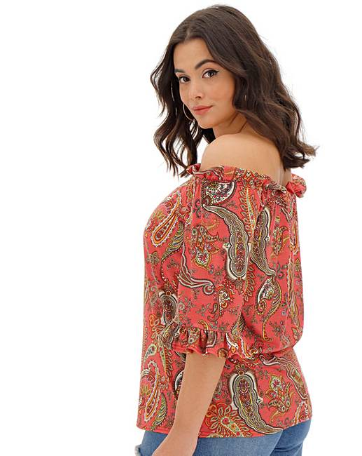 8d3f35e8b Paisley Print Bardot Top | Simply Be