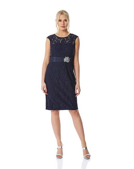 e5d95eeaf1f39 Roman Lace Embellished Trim Dress