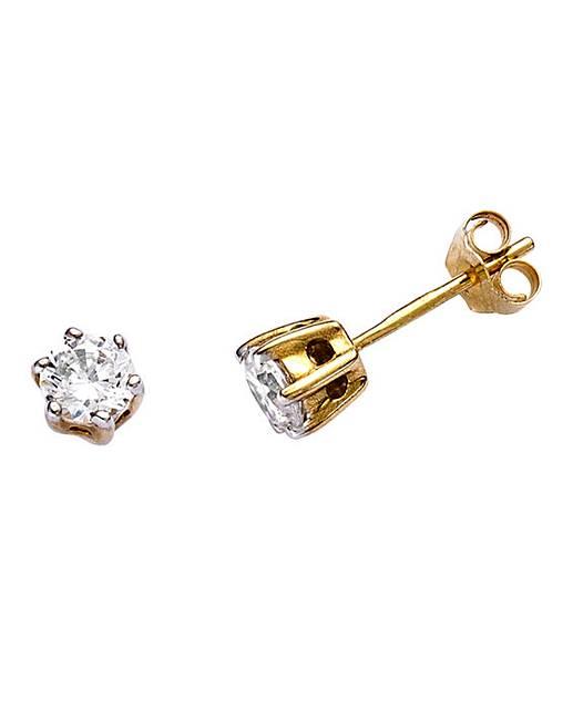 2444deffb 9 Carat Gold 1/2 Carat Diamond Earrings | J D Williams