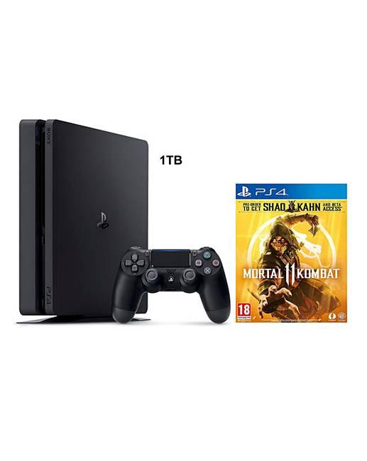PS4 Slim 1TB Black + Mortal Kombat 11