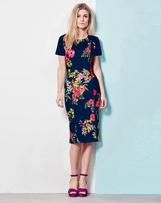 b2c971606bd Navy Floral Lace Trim Shift Dress