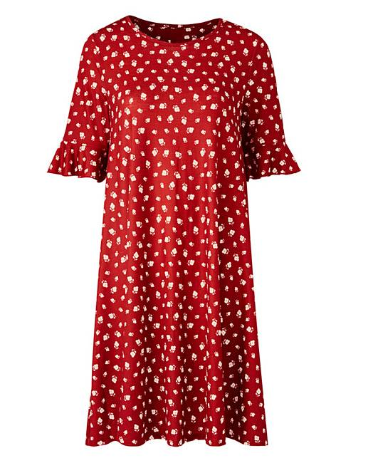2d10ec7492e6 Henna Floral Frill Jersey Swing Dress | Oxendales