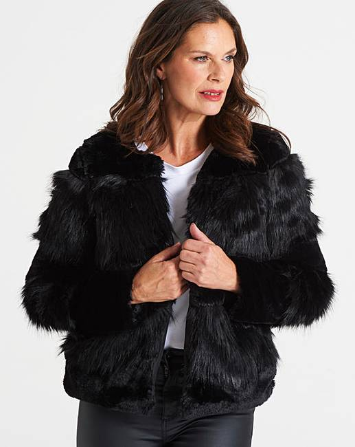 Fur Jacket Short Williams Faux D Moda Vero J zTZUq