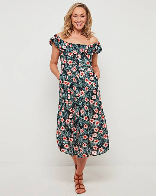 aab397b286e2f Joe Browns Palm Print Bardot Dress | J D Williams
