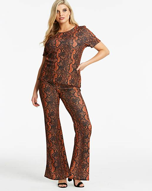 c048c1e12933 Lasula Snake Printed Flared Trouser | Simply Be