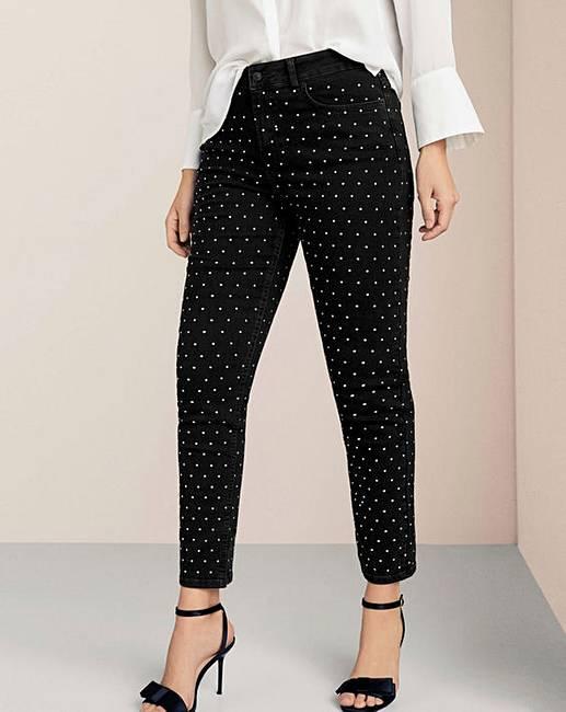 f76d8e8ed26356 Violeta By Mango Studded Jeans | Simply Be