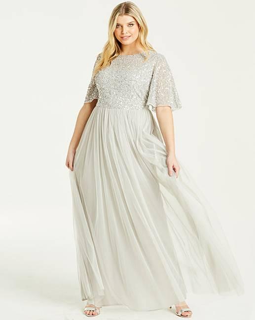 0ad8d9661c Maya Curve Flutter Sleeve Maxi Dress