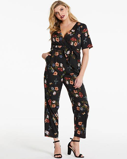 c669ffaeb5f Lovedrobe Floral Print Wrap Jumpsuit | Simply Be