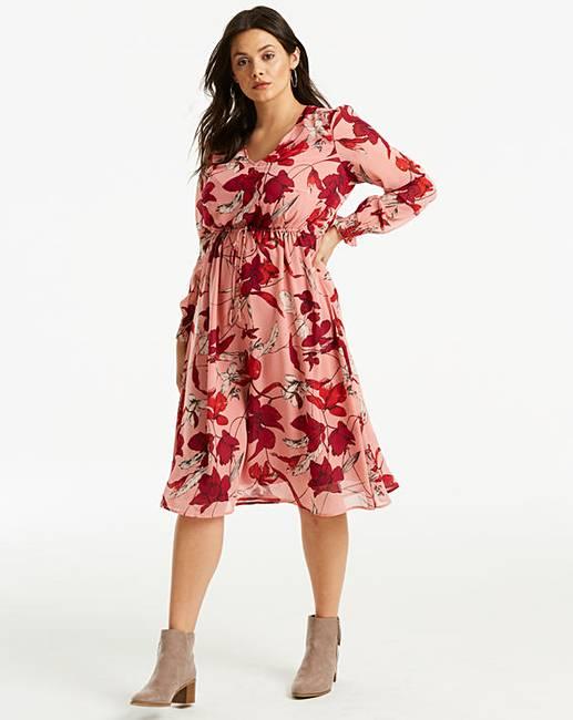 0d2d68ded1195 Junarose Floral Printed Midi Dress | Simply Be