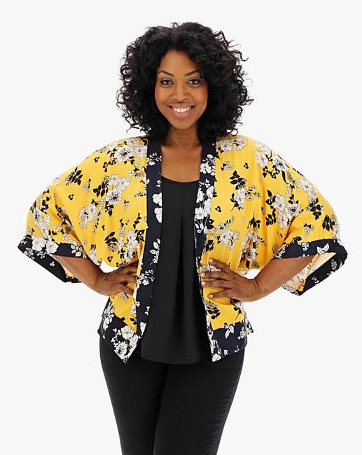 86f0bf34d913 Oasis Curve Scarf Print Kimono Jacket | J D Williams