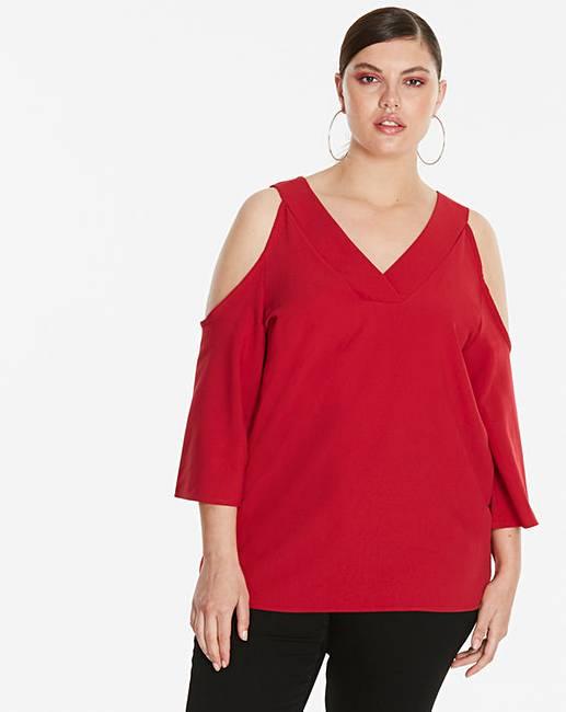 7a67c07e4afaf3 Red V-Neck Cold Shoulder Blouse