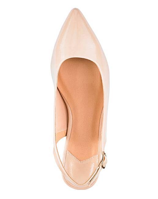 4b6f5597af9 Flexi Sole Kitten Heel Slingback Shoes Wide E Fit