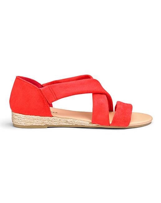 dceb9ba7d7 Soft Strap Low Wedge Espadrille Sandals Wide E Fit