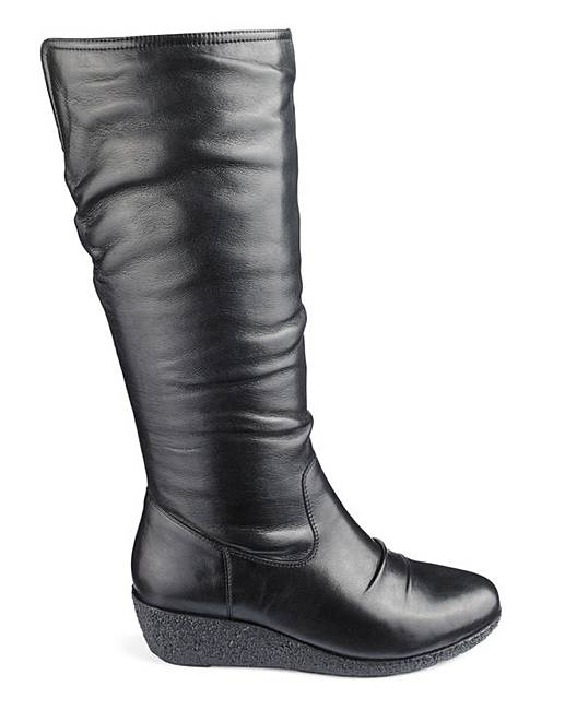 294dff2d705 Leather Wedge Boots E Fit Super Curvy