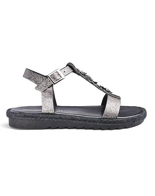 Cheap Heavenly Soles Flower Detail T Bar Sandals Extra Wide EEE Fit
