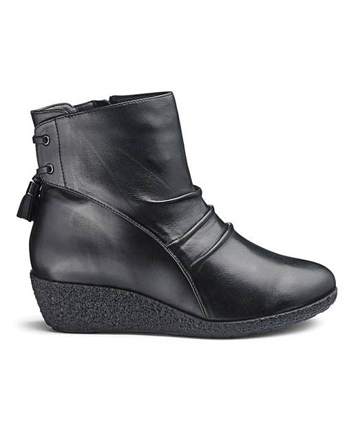 c32b3dacd7f Leather Wedge Ankle Boots E Fit
