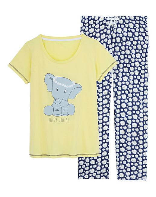 Pretty secrets elephant print pyjama set simply be - Pyjama elephant ...