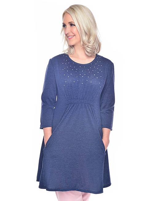 Discount Grace stud knit tunic dress with pockets