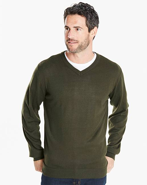 cc1b2c8be7ee Capsule Khaki V-Neck Jumper | J D Williams