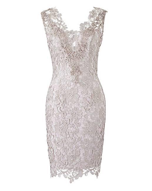 deba117de13 Gina Bacconi Lace Dress with Scarf