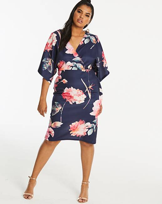 a3c09f26d Quiz Curve Navy Floral Print Wrap Dress